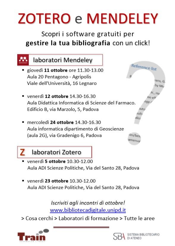 Laboratori gratuiti per gestire la bibliografia in un click!